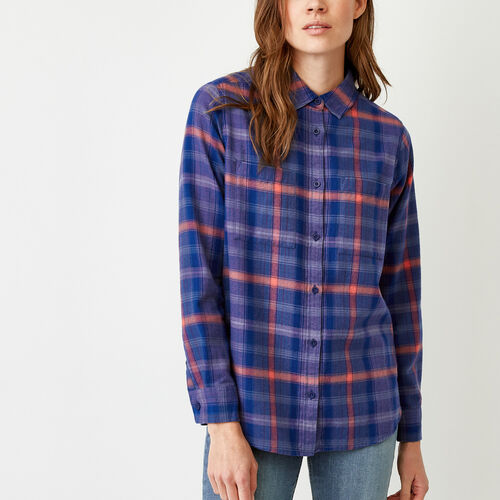 Roots-Clearance Women-Nora Flannel Shirt-Dark Lilas-A