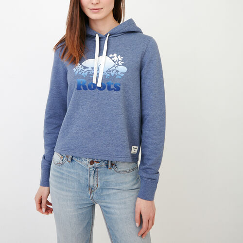 Roots-Women Sweatshirts & Hoodies-Guernsey Cropped Hoody-Steel Blue Mix-A