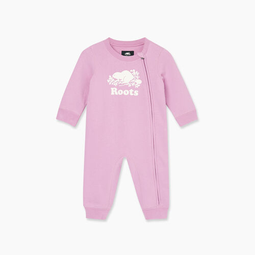 Roots-Kids Bestsellers-Baby Original Cooper Beaver Romper-Orchid-A