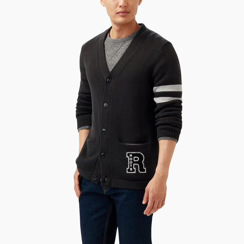 Roots-Winter Sale Men-Var-city Cardigan-Black Mix-A