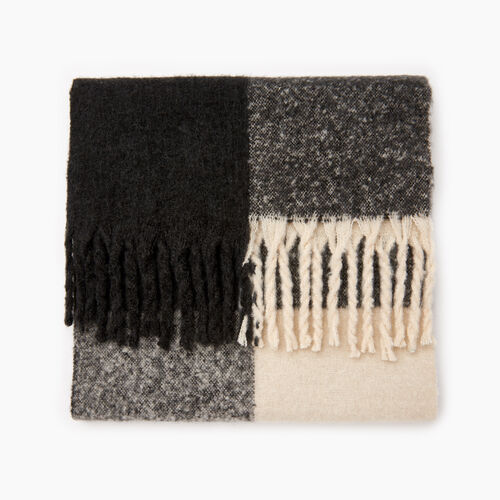 Roots-Women Categories-Park Plaid Fluff Scarf-Fog-A