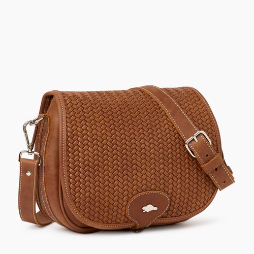 Roots-Leather Crossbody-English Saddle Woven-Natural-A