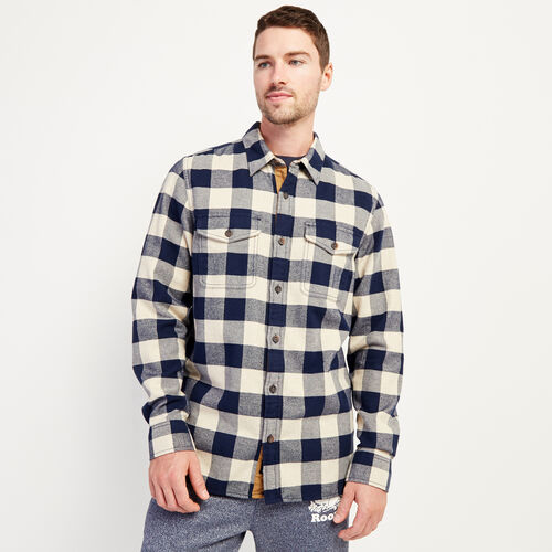Roots-New For November Men-Park Plaid Shirt-Flaxseed Mix-A