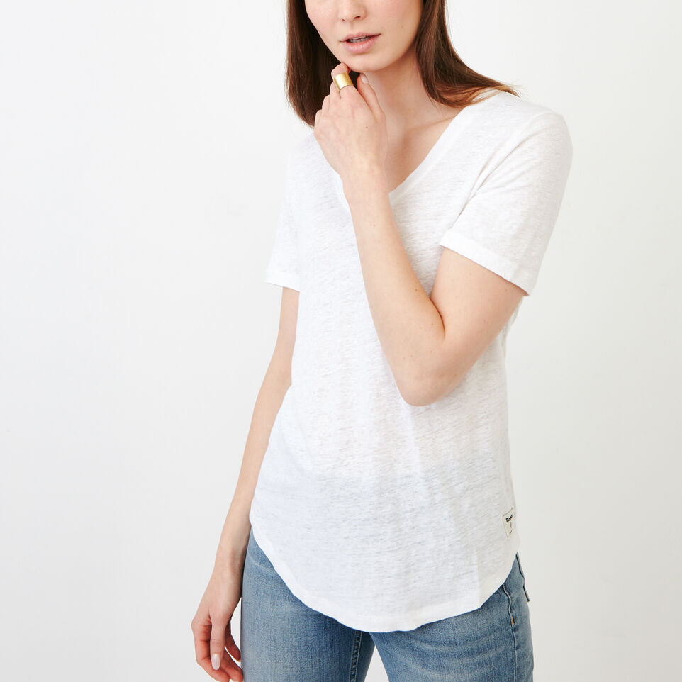 Roots-Women Our Favourite New Arrivals-Linen V Neck Top-Ivory-A
