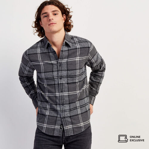 Roots-Men New Arrivals-Smoke Lake Shirt-Charcoal-A