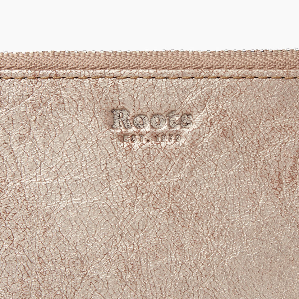 Roots-Leather Our Favourite New Arrivals-Medium Card Wristlet-Champagne-E