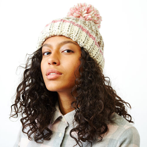 Roots-Women Categories-Chunky Cabin Pom Pom Toque-Fawn Taupe Mix-A