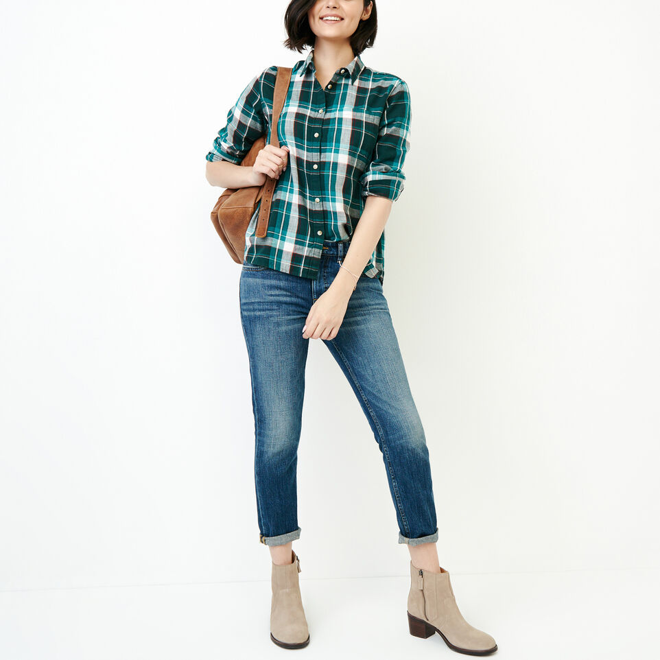 Roots-Women Tops-All Seasons Relaxed Shirt-Varsity Green-B