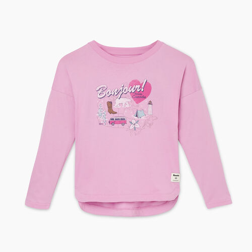 Roots-Kids Girls-Girls Bonjour From Canada T-shirt-Orchid-A