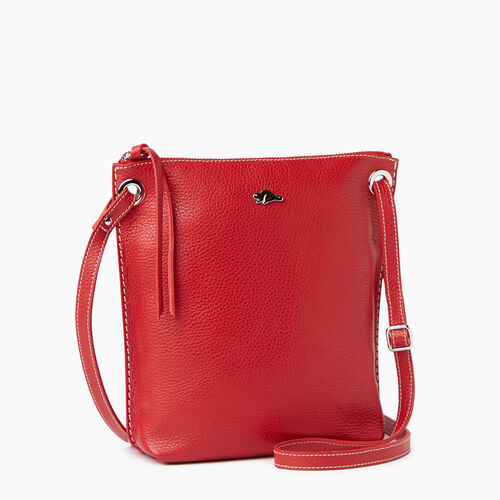 Roots-Leather Handbags-Festival Bag-Red-A