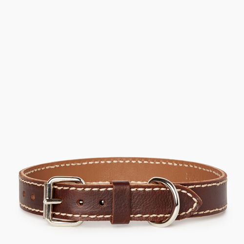 Roots-New For January Dog Accessories-Medium Leather Dog Collar-Chocolate-A