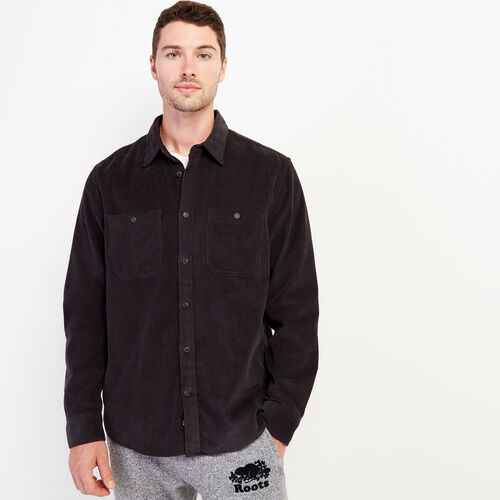 Roots-New For September Work From Home-Cord Work Shirt-Charcoal-A