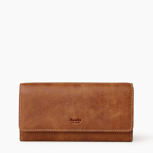 Roots-Leather Wallets-Large Chequebook Clutch Tribe-Natural-A