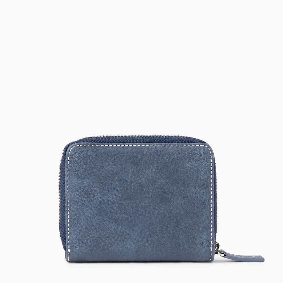 Roots-Leather New Arrivals-Small Zip Wallet Tribe-Navy-B