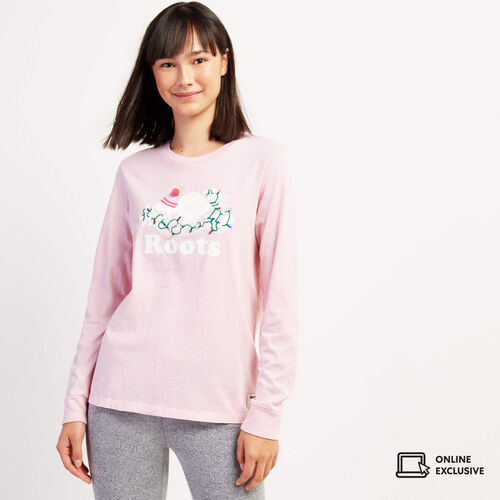 Roots-Women Graphic T-shirts-Womens Buddy Long Sleeve T-shirt-Pink Mix-A