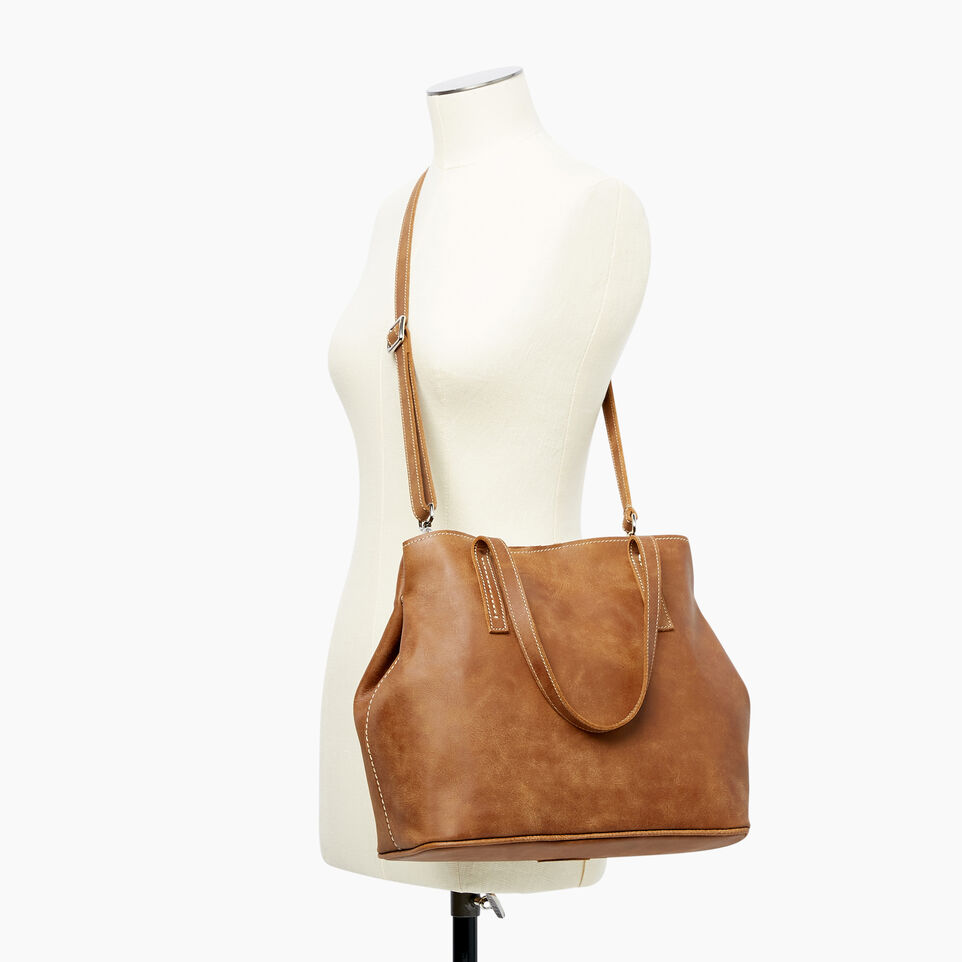 Roots-Leather  Handcrafted By Us Our Favourite New Arrivals-Amelia Tote Tribe-Natural-B