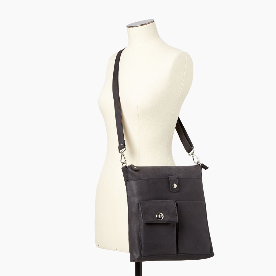 Roots-Leather  Handcrafted By Us Handbags-Canadian Villager-Jet Black-B