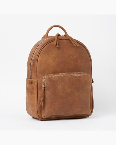 Roots-Leather Backpacks-Chelsea Pack Tribe-Natural-A