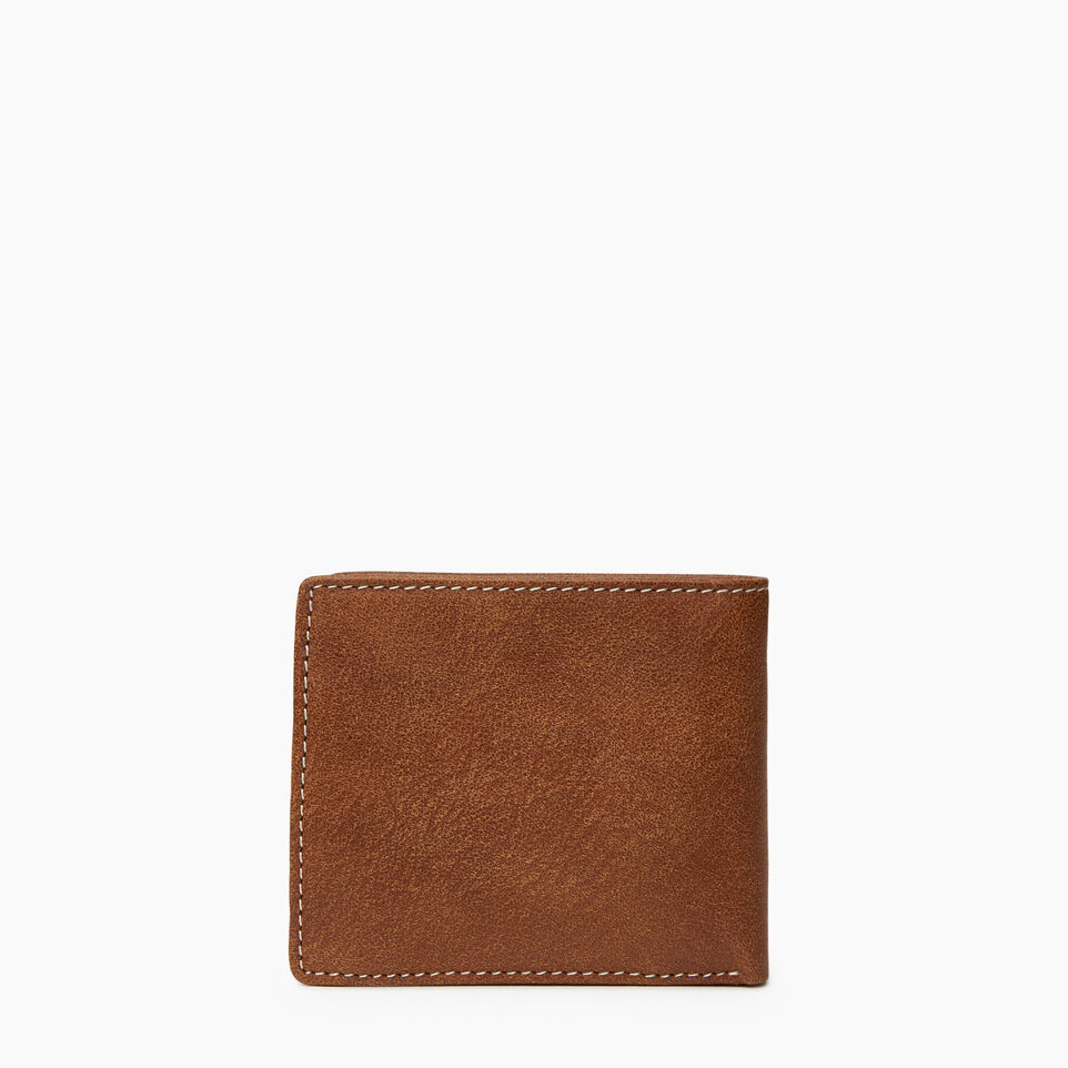 Roots-Leather Wallets-Mens Slimfold Wallet With Side Flap-Natural-C