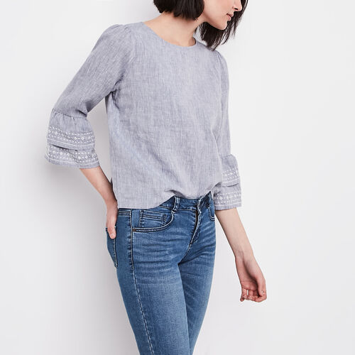 Roots-Women Shirts-Mabel Top-Flint Stone-A