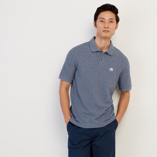 Roots-Men New Arrivals-Heritage Pique Polo-Cascade Blue Pepper-A