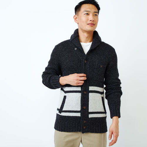 Roots-Men Our Favourite New Arrivals-Wellington Shawl Cardigan-Black Mix-A