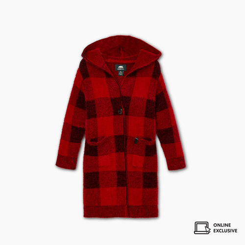 Roots-New For November Kids-Toddler Park Plaid Cozy Cardigan-Cabin Red-A