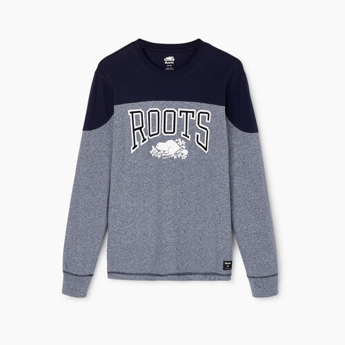 Roots-Men Our Favourite New Arrivals-Mens Messier Long Sleeve T-shirt-Navy Blazer Pepper-A