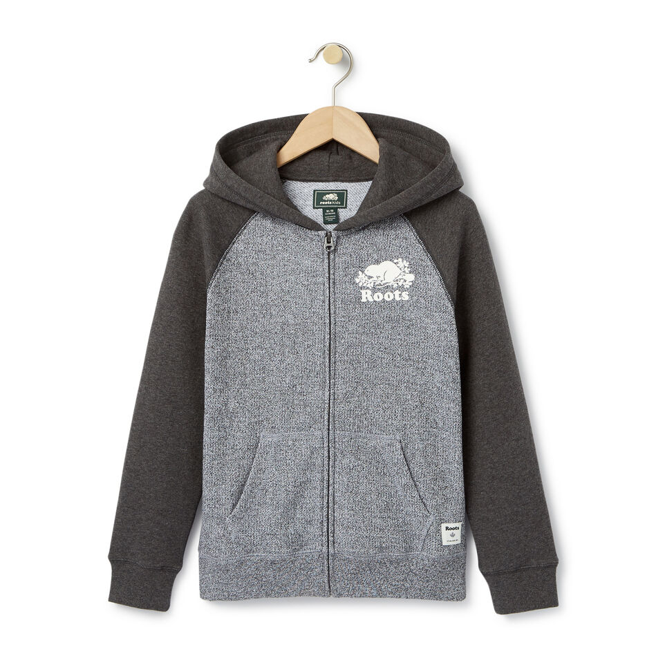 Roots-Clearance Kids-Boys Original Full Zip Hoody-Charcoal Mix-A