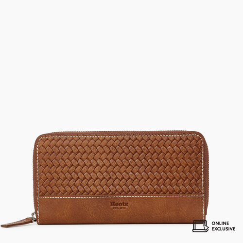 Roots-Women Wallets-Zip Around Clutch Woven-Natural-A