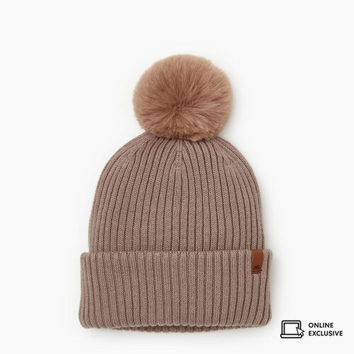 Roots-New For November Online Exclusives-Juneau Pom Pom Toque-Cinder-A