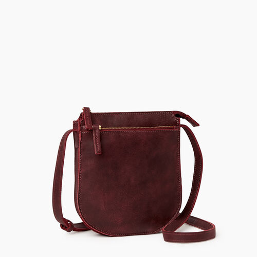 Roots-Leather  Handcrafted By Us Handbags-Lambert Crossbody-Crimson-A