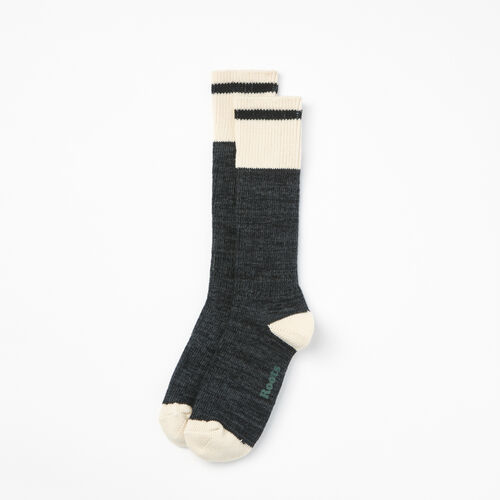 Roots-Men Socks-Mens Cotton Cabin Sock 2 Pack-Charcoal Mix-A