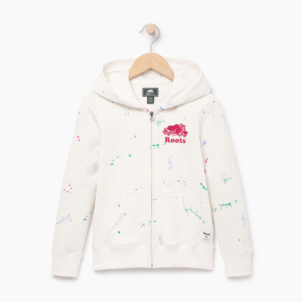 Roots-Clearance Kids-Girls Splatter Full Zip Hoody-Cannoli Cream-A