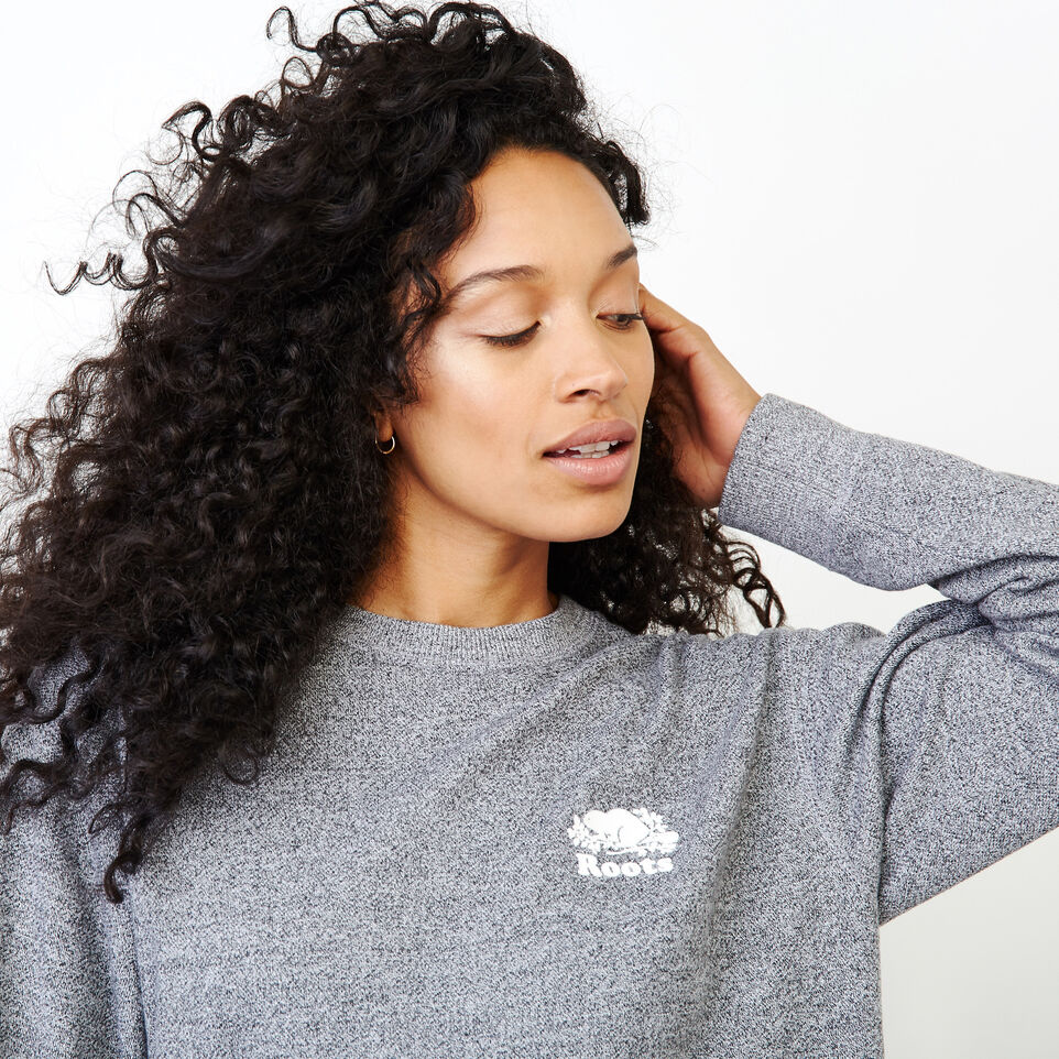 Roots-Women Our Favourite New Arrivals-Original Boyfriend Crew Sweatshirt-Salt & Pepper-E