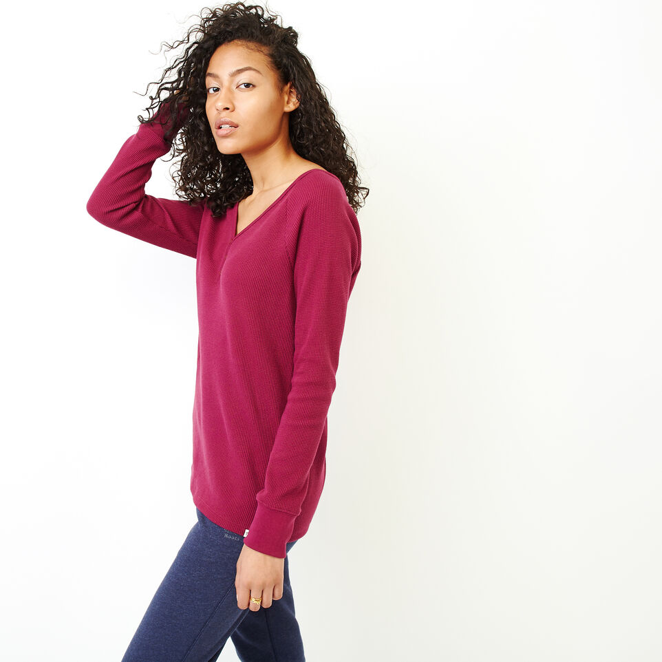 Roots-Women Clothing-Kinuso Henley Top-Purple Potion-C