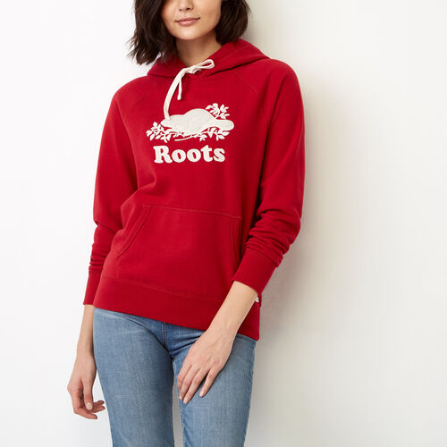 Roots-Women Our Favourite New Arrivals-Sherpa Applique Hoody-Cabin Red-A