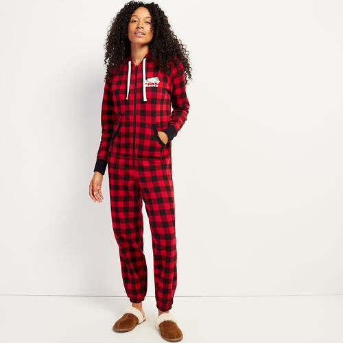 Roots-Women New Arrivals-Roots Park Plaid Onesie-Cabin Red-A
