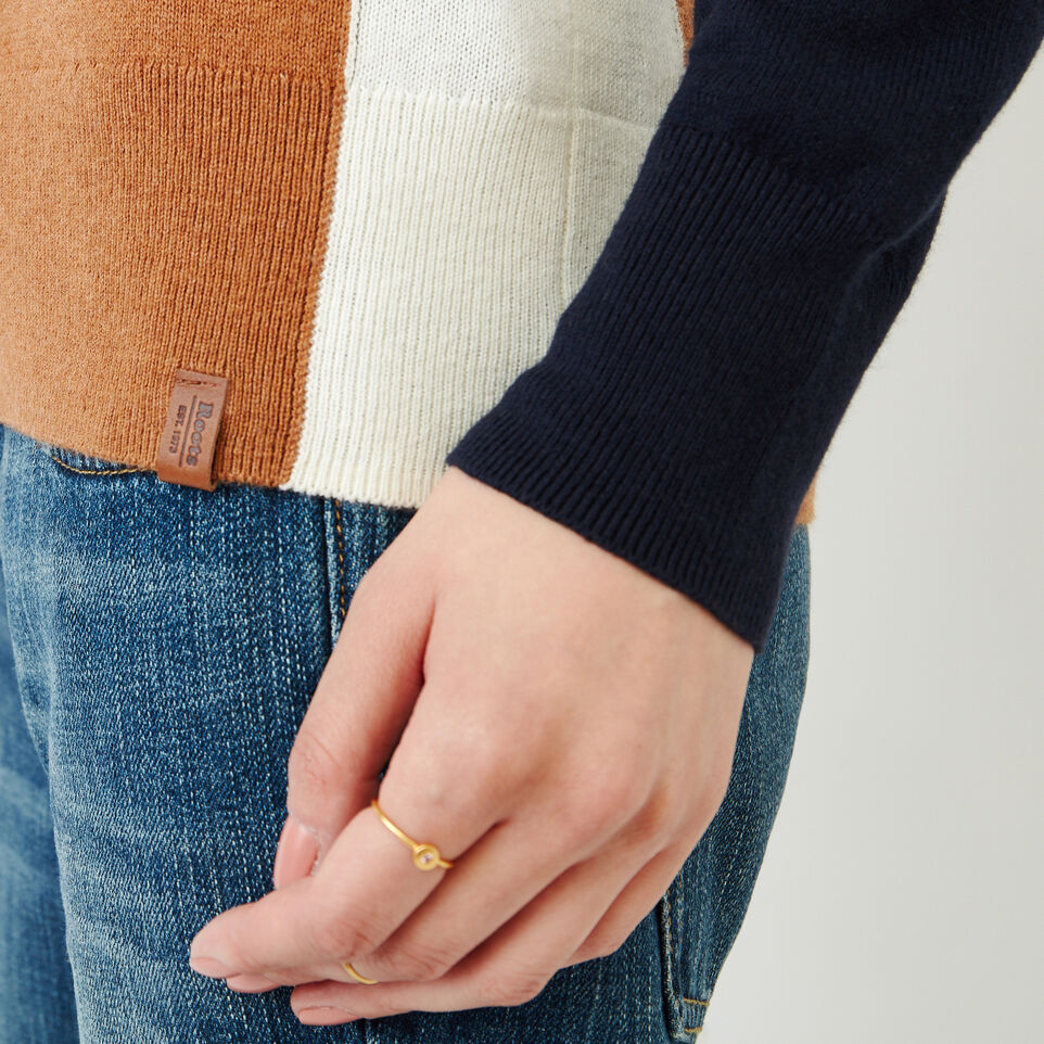 Roots-Women Sweaters & Cardigans-Colour Blocked Sweater-Brown Sugar-E