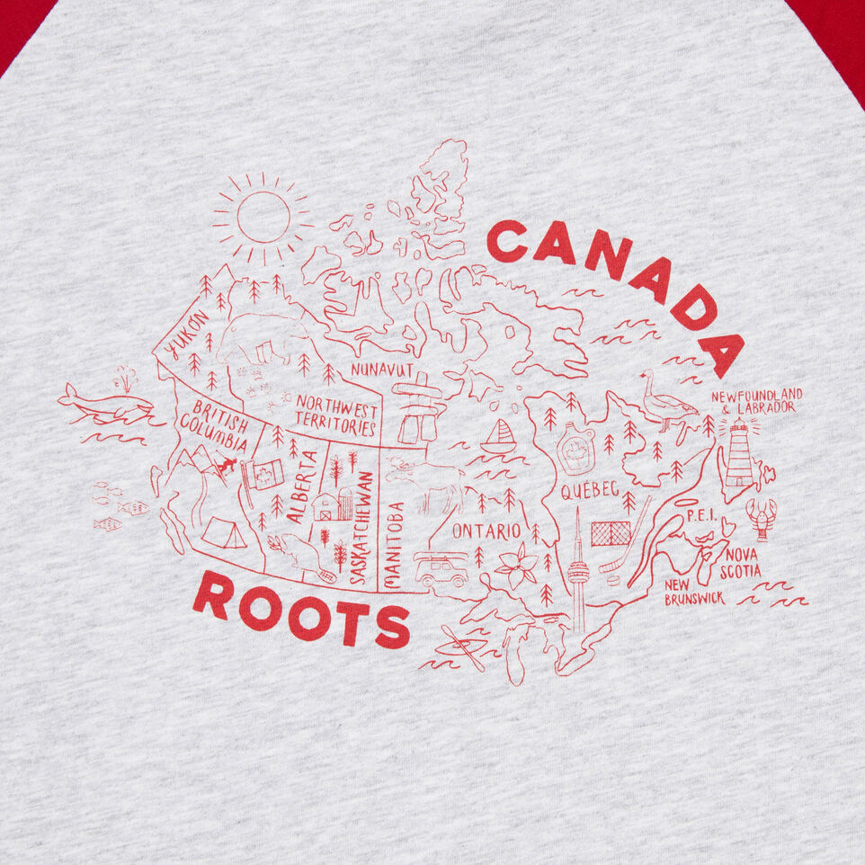 Roots-New For June Kids-Girls Canada Map T-shirt-Snowy Ice Mix-D