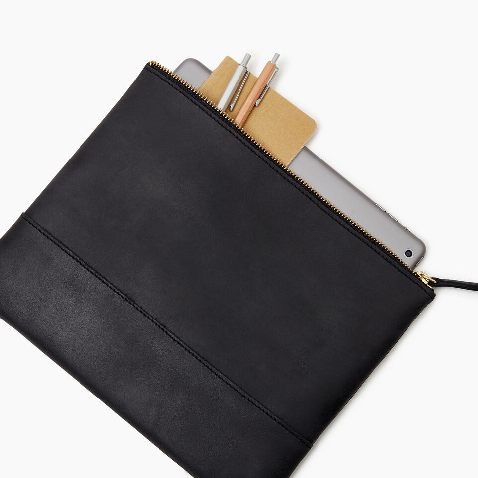 Roots-Women Leather Accessories-Junction Pouch-Jet Black-E