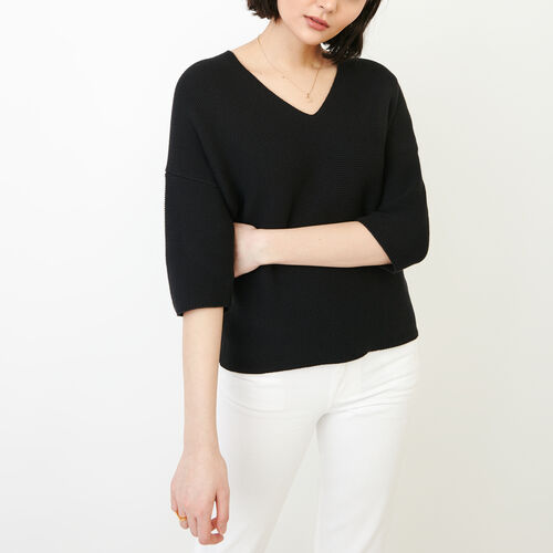 Roots-Women Sweaters & Cardigans-Kenai V Neck Sweater-Black-A