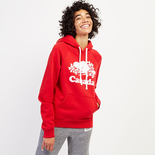 Roots-New For August Women-Womens Cooper Canada Hoody-Sage Red-A