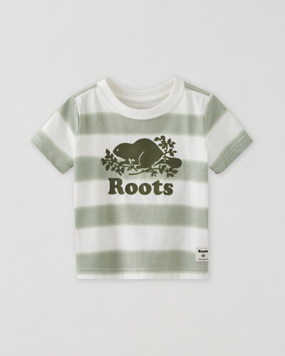 Roots-Kids Baby-Baby Cooper Beaver T-shirt-Washed Olive-A
