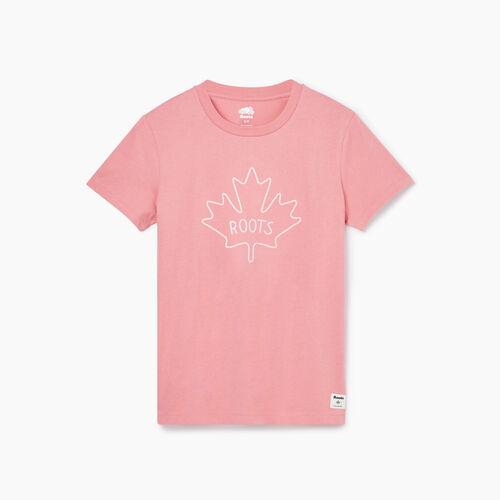 Roots-Women Graphic T-shirts-Womens Maple T-shirt-Sunset Apricot-A