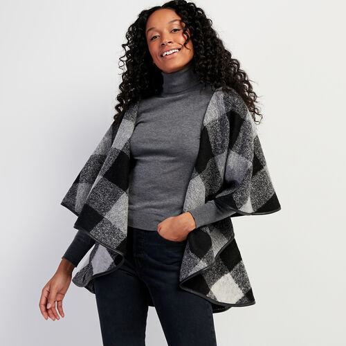 Roots-Leather Leather Jackets-Julia Cape Park Plaid-Black-A