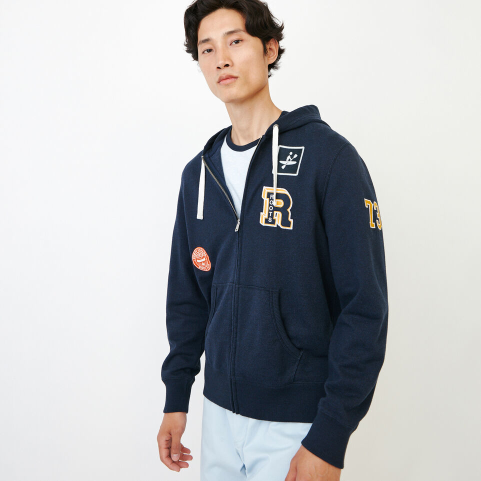 Roots-Men Our Favourite New Arrivals-Badges Full Zip Hoody-Navy Blazer Pepper-A