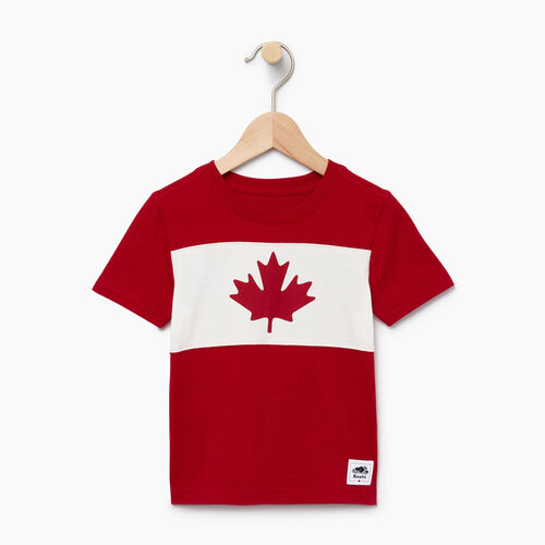 Roots-Kids Tops-Toddler Blazon T-shirt-Sage Red-A