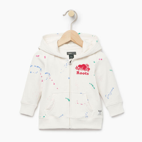 Roots-Clearance Kids-Baby Splatter Full Zip Hoody-Cannoli Cream-A