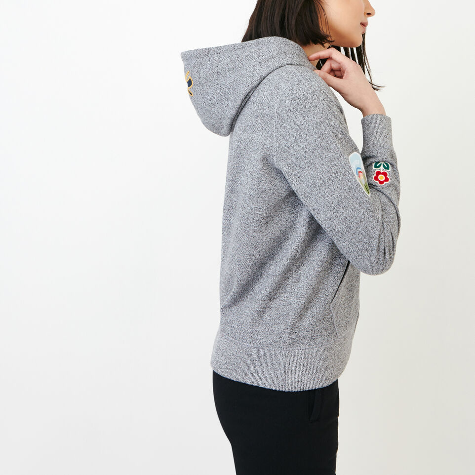 Roots-Women Our Favourite New Arrivals-Patches Full Zip Hoody-Salt & Pepper-C